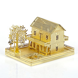 Wholesale New Design Grown up Adults Handmade D Puzzles Fun DIY Assemble Metal Intelligence Toy Gold Villa Best Gifts For Model Fans