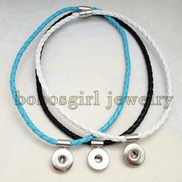 Wholesale Newest Braided PU leather necklace Can be used as bracelet OEM ODM NB006 fit mm snaps noosa snap chunk jewelry