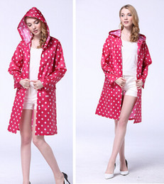 New Dot Outdoor Travel Women Ladies Girl Waterproof Riding Clothes Raincoat Poncho Pocket Hooded Knee Long Rainwear Nylon TY1110