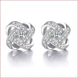 925 sterling silver items crystal jewelry stud earrings cross shaped wedding infinity exquisite vintage fine charms