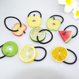 Wholesale Cute Hair Bands For Girls - Little Girls Funny cute Hairbands hair elastic ties transparent fruit Hair Bands girls ponytail holder Kawaii Hair Accessories for children