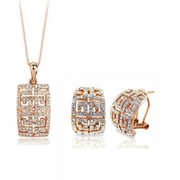 Luxurious high-end Austria Crystal Earrings Necklace Sets For Women Fashion Best Gift Bridal Jewelry Set 1273