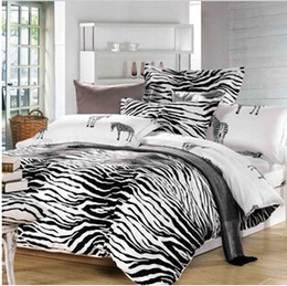 Wholesale-Quality Black and White zebra 100% cotton 3pcs 4pcs children adult comforter duvet Cover bedding set Twin Queen King size 3129
