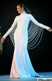 Custom Made 2018 Mermaid Long Sleeve Prom Dresses White Pearls Beads Sheer Back Evening Dresses Pageant Dress