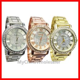 Mens Watches Top Brand Geneva Watch Stainless Steel Metal Wrist Watches for Women Men Fashion Luxury Gold Crystal Quartz Rhinestone Diamond
