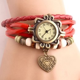 Wholesale 2015 Hot Korean fashion retro leather ladies watches female form beautifully woven women watch Heart