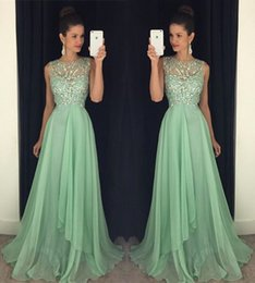 Latest Jewel Neck Long Evening Dresses A-line Floor-length Elegant Crystal Beaded Chiffon Mint Custom Made Long Party Prom Dresses