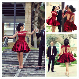 Wholesale Said Mhamad Best Sale Short Prom Dresses High Neck Ball Gown Satin With Long Sleeves Burgundy Lace Cocktail Gowns Graduation Dress