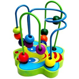 Wholesale NEW HOT Baby wooden toy Mini around beads Wire maze Colorful Educational game Children Toys