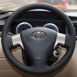 Steering wheel cover Case for Toyota Corolla 2006-2010 Corolla EX Genuine leather DIY Hand-stitch Car styling