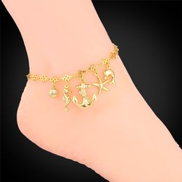 Wholesale Foot Jewelry Gold Anklet For Women Fashion Jewelry Ocean Cute Platinum K Real Gold Plated Anklet Bracelet On A Leg A939