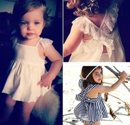 Girl Fashion Sets Stripe Lace Dress+Shorts 2pcs Baby Girl Outfits 1-3Y 11028 Not Have Headbands