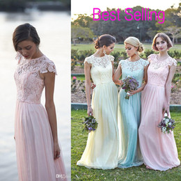 Wholesale Lace Chiffon Maid of Honor Dresses real image Plus Size Cap Sleeve Pink Mint daffidol cheap Beach Bridesmaid Party Evening Gowns Custom
