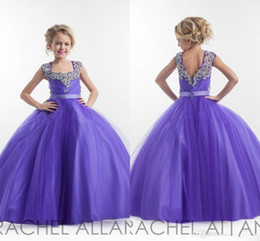 Purple Flower Girl Dresses Square Neckline Cristaux Sparkly Beaded Tulle Floor Length Open Back Robe de fête d'anniversaire Robe Pagent Robes de bal à partir de fabricateur