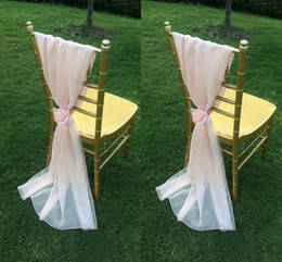 Wholesale Cheap Purple Blue Decorations - Blush Pink Chiffon Chair Sashes with Flowers Floor Length Ruffles Creative Wedding Decorations Chair Covers Cheap Handmade Wedding Supplies