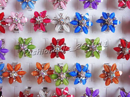 Rings Jewelry 50pcs Flower Resin Rhinestone Silver P Rings r0041