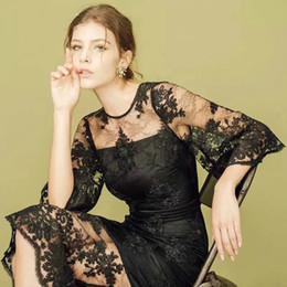 2016 new style summer dresses tunic women flare sleeve embroidery see-through sexy maxi black lace dress vestido