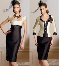 Wholesale New Arrival Refund Guarantee Short Mother Formal Dresses Square Neckline Short Sleeves Women Special Occasion Dresses With Jacket BO8467