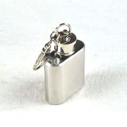 Alcool trousseau à vendre-Hip Hip Flacons portable Mini Keychain 1 oz en acier inoxydable Whisky alcools alcool Pocket Flacon Flagon bouteille d'huile avec Porte-240252