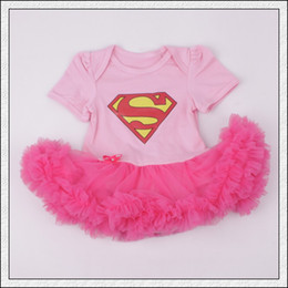 Wholesale New arrival Baby infant toddler Superman Superwomen romper Onesies Dress tutu skirt lace short chiffon ruffles pink Pajamas COTTON bodysuits