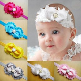 Shabby Flowers Baby Girl Headbands Chiffon Fabric Flower Pearls Rhinestones Hair Bows Children Hair Accessories Toddler Christmas Gifts New