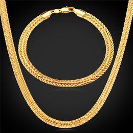 Men Jewelry Sets Classical Foxtail Bracelets 18K Gold Rose Gold Platinum Plated Men's Thick Chain Necklace Sets