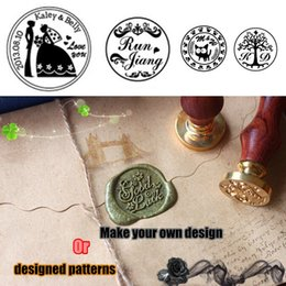 Wholesale Vintage metal sealing wax stamp with custom stamp logo designed patterns or your design for wedding and work
