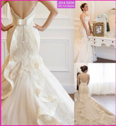 Mermaid Wedding Dresses New Low Back Off the Shoulder W1458 Lace Bridal Gowns Sash Handmade Applique Robe de Mariage Beautiful Princess