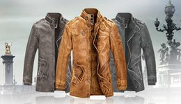 Wholesale 2015 New Rushed Fashion Motorcycle Leather Jacket Men Winter Thick Warm Vintage PU Leather Jackets Military Mens Trench Coat
