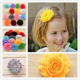 Wholesale 100pcs quot Shabby Chiffon Flower Rosette Shabby Rose Trim Frayed Flowers baby hair accessories Single flower Fabric flower