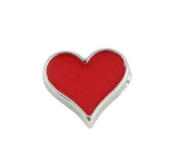 Wholesale 20PCS Red Poker Heart DIY Alloy Floating Locket Charms Fit For Glass Living Magnetic Memory Locket Fashion Jewelrys