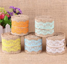 Wholesale 6CM Width White Lace with Natural Burlap Ribbon Jute Roll for Rustic Vintage DIY Wedding Decoration Craft gift Wrapping