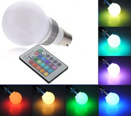 Wholesale 3W B22 E27 E14 GU10 Colors Changing RGB LED Light Bayonet Bulb Remote Control Lamp X