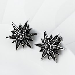 Wholesale Star shaped stud earrings new arrival retro fashion antique silver imtation czech drill oil drip earrings for women