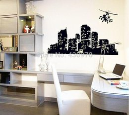 Wholesale QZ1369 Big City View skyscraper Palazzo helicopter conveyor transport plane fluorescent Wall Stickers Room