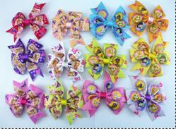 """8%off 30pcs 3"""" princess Hair Clips Boutique Bows hair Accessories Ribbon hair bows clips !Children's hair accessories! Manual bow!"""