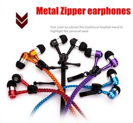 Wholesale High quality Metal Zipper Headphone In Ear mm round head In Ear Zip Earphone Control Talk Metal Earphones for cell phone iphone Sansung
