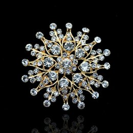 2 Inch Gold Plated Clear Rhinestone Crystal Diamnate Sun Flower Jewelry Brooch Wedding Party Prom Gifts