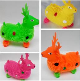 Wholesale Flash ball luminous plush rabbit fur ball deer puppy vent ball bouncing ball factory direct children s toys