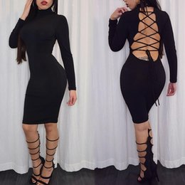 New women Winter Long sleeve Party Dresses Sexy Backless Bodycon Dress Black Lace Up Bandage Dress Women Vestidos