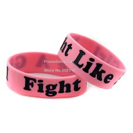 "Wholesale Silicone Breast Cancer Bracelets Wholesale - Wholesale Shipping 50PCS Lot Breast Cancer Awareness Wristband Fight Like A Girl Silicon Bracelet 1"" Wide Band"