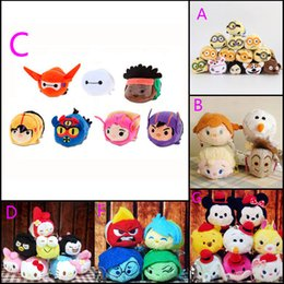 Wholesale TSUM TSUM Toys Anime Baymax Minnie Frozen KT cat Alice plush doll mobile screen cleaner plush toys for mobile phone ipad HX