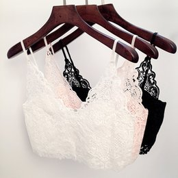 Wholesale Summer Sexy Women Lace Camisole Cropped Crochet Deep V Neck Bralet Spaghetti Strap Zip Back Bustier Crop Top Strap Blouse G0908