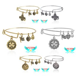 Wholesale Alex and Ani DIY Four Leaf Clover III EWB Rafaelian Bangle Bracelet For The Lucky Star