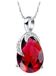 purple**red drop diamond heart t lady's white chain pendant 1.3*2.7 CM) (sp3658) yutyu