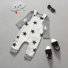 New Baby Sets Kids Cotton Stripe T-shirt + Rompers Children Set Girls Boys Tops Star Jumpsuits Overalls Child Clothing Sets Gray Black