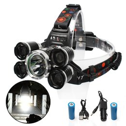 Waterproof Chargeable High Brightness 1200 Lumens 5 T6 LED Outdoor strong light illumination lantern LED head fishing lamp Outdoor headlamp