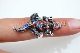 Rings 20pcs   lots Wholesale lots Cute Mixed Colorful Rhinestone Crocodile Animal Silver Plated Rings