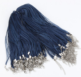 """100pcs lot New Navy Organza Voile Ribbon Cord Necklaces 18"""" Wire Jewelry DIY Jewelry Findings Components"""
