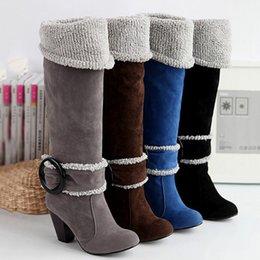 Wholesale New Arrival Womens Long Boots Nubuck Leather Plus Size Shoes High Heels Ladies Shoes Boots Size TZ0325